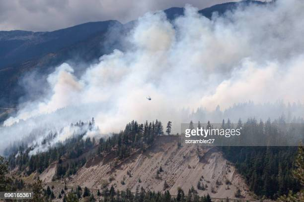 Helicopter flying over Forest Fire in Lytton, British Columbia, Canada