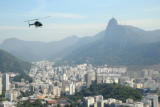 A helicopter gives tourist tours over the city on June 25 2014 in Rio de Janeiro Brazil