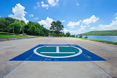 Helipad for helicopter landing in the park