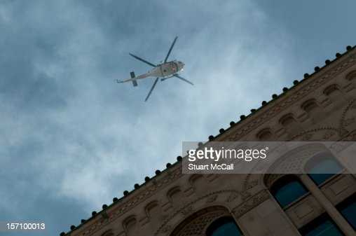 Helicopter hovering over downtown Montreal : Stock Photo
