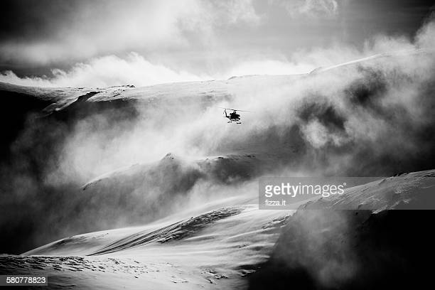 Helicopter in a snow storm