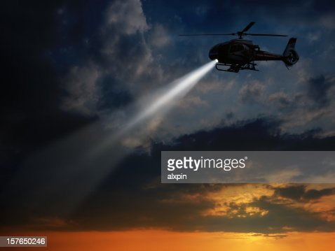 Helicopter in dusk