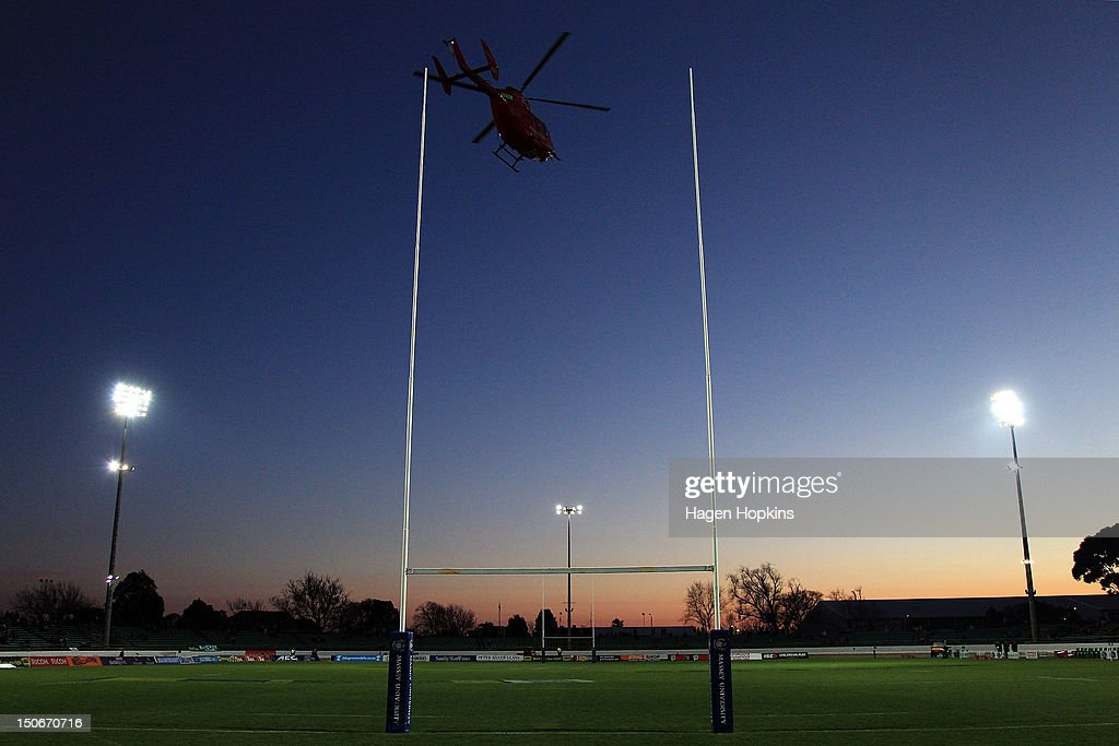 A helicopter leaves the stadium during the round one ITM Cup match between Manawatu and Wellington at FMG Stadium on August 24, 2012 in Palmerston North, New Zealand.
