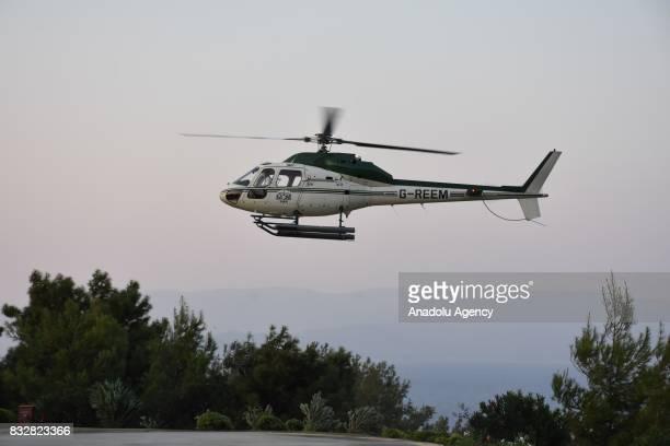 Helicopter of Saudi Prince AlWaleed Bin Talal bin Abdulaziz al Saud arrives to land at hotel's helipad at Bodrum in Mugla Province of Turkey on...