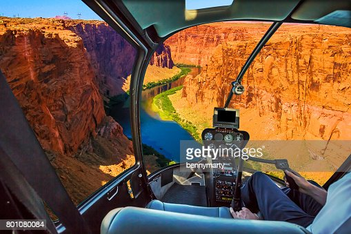 Helicopter on Grand Canyon : Stock Photo