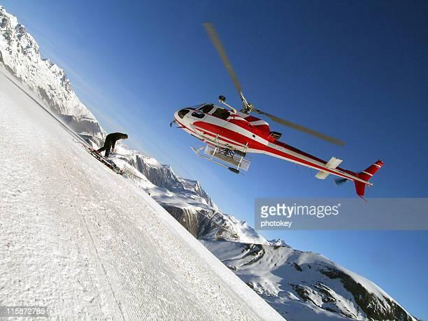 ヘリコプターに山脈