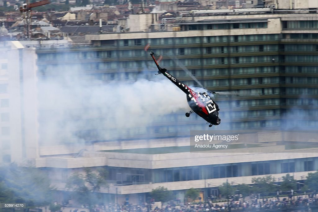 A MI-2 helicopter performs during an air show in Budapest, Hungary on May 1, 2016
