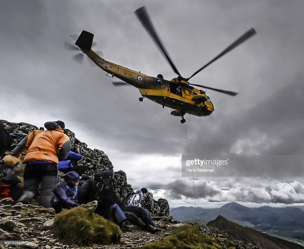Helicopter rescue on Mount Snowdon