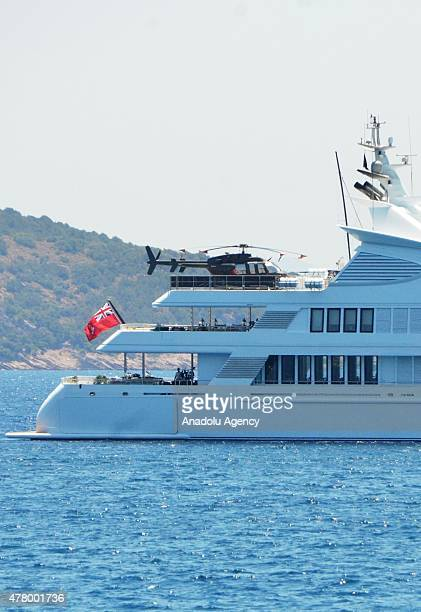 A helicopter sits on a helipad of luxury yacht 'Samar' owned by Kuwaiti businessman Yusuf Ahmed Alghanim as the yacht anchors in Bodrum district of...