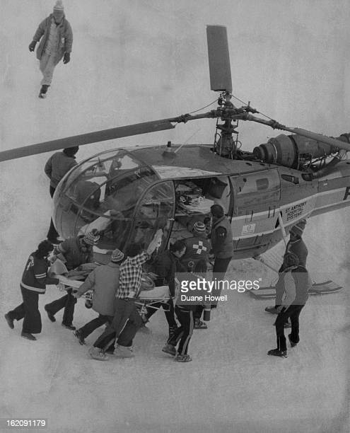 MAR 5 1977 MAR 6 1977 Helicopter Transports Man From Winter Park Ski Area To Denver Hospital Medical technicians from St Anthony's Hospital Central...