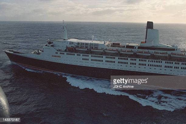 A helicopter view of the Cunard liner 'RMS Queen Elizabeth 2' which has been requisitioned as a British troopship during the Falklands War South...