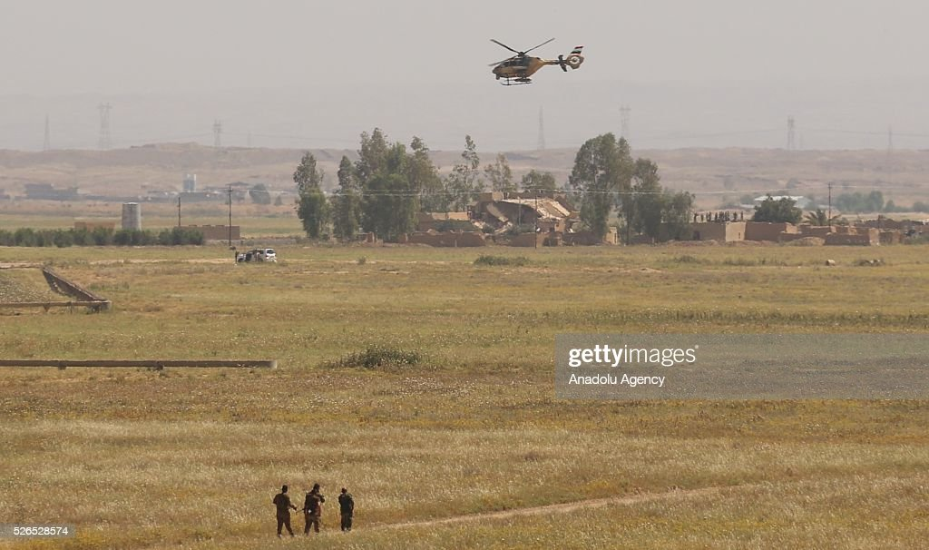 Helicopters belong to Iraqi Army, attend a joint operation carried out by Peshmerga forces and Shiite Hasdi Sabi forces to rescue Turkmen Besir Village from Daesh in Iraq on April 30, 2016.