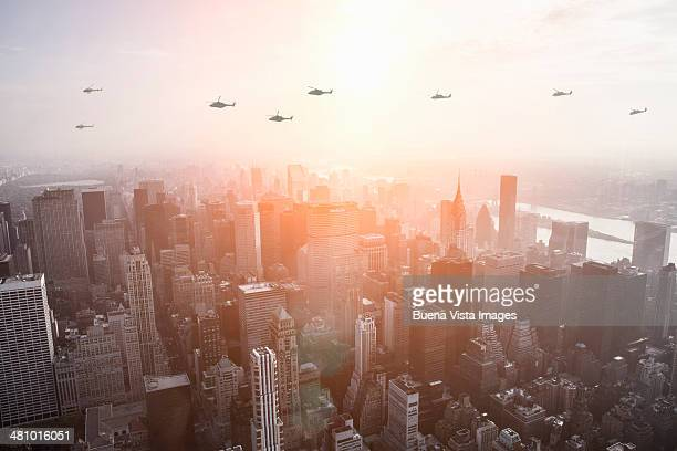 Helicopters flying over Manhattan