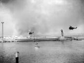 Helicopters from the English military forces passing near the statue of Ferdinand DE LESSEPS at Port Said near the Suez Canal on November 12 1956