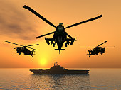 Computer generated 3D illustration with Helicopters and Aircraft Carrier