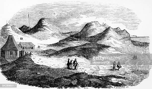 Heligoland pictures Dune landscape about 1850contemp wood engraving