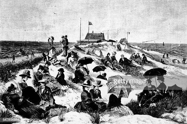 Heligoland pictures Holiday visitors in the dunes about 1885contemp wood engraving