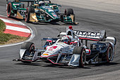 Helio Castoneves of Brazil drives the Chevrolet Indy Car during the Honda Indy 200 at MidOhio Sports Car Course on August 2 2015 in Lexington United...