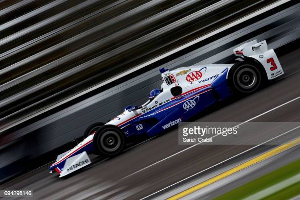 Helio Castroneves driver of the AAA Insurance Team Penske Chevrolet practices for the Verizon IndyCar Series Rainguard Water Sealers 600 at Texas...