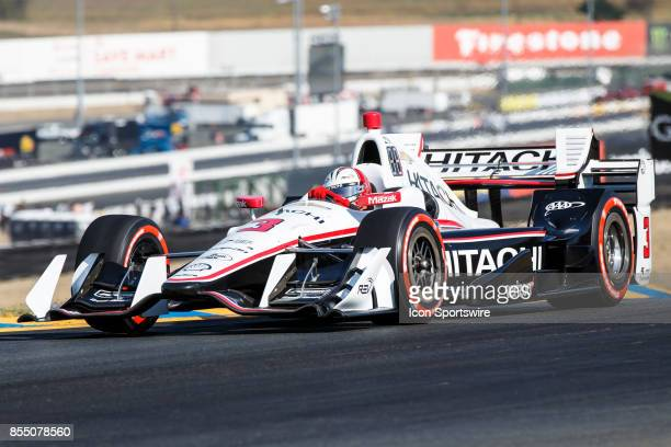 Helio Castroneves in the Chevrolet powered Hitachi Team Penske IR12 during the Verizon Indycar Series 85 lap GoPro Grand Prix of Sonoma held at...
