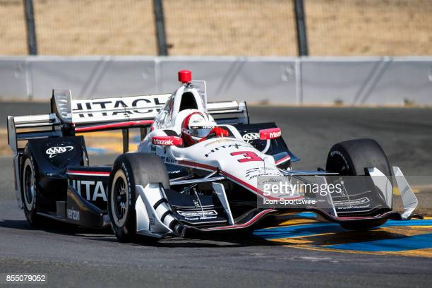 Helio Castroneves in the Chevrolet powered Hitachi Team Penske IR12 at the bus stop during warmup for the Verizon Indycar Series GoPro Grand Prix of...