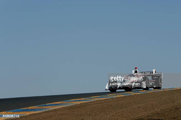 Helio Castroneves of Brazil driver of the Hitachi Chevrolet races in the GoPro Grand Prix of Sonoma at Sonoma Raceway on September 17 2017 in Sonoma...