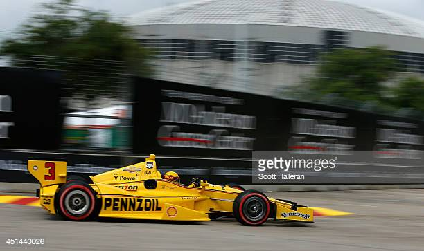 Helio Castroneves of Brazil driver of the Pennzoil Ultra Premium Team Penske Dallara Chevrolet drives during qualifying for the Verizon IndyCar...