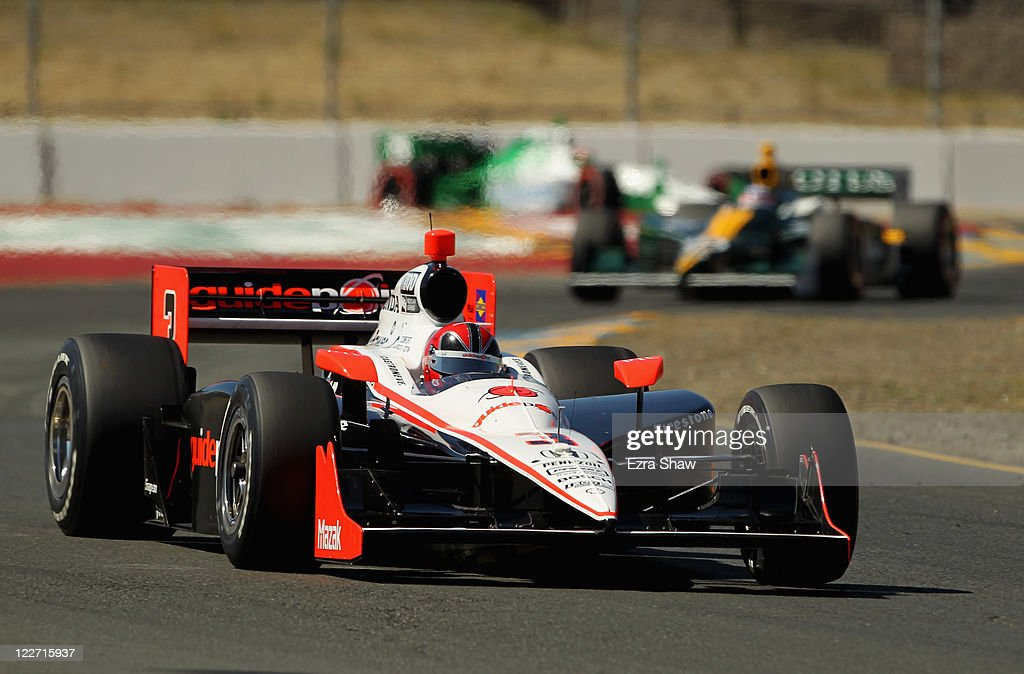 Helio Castroneves of Brazil, driver of the #3 Team Penske Dallara Honda, races in the IZOD IndyCar Series Indy Grand Prix of Sonama race at Infineon Raceway on August 28, 2011 in Sonoma, California.