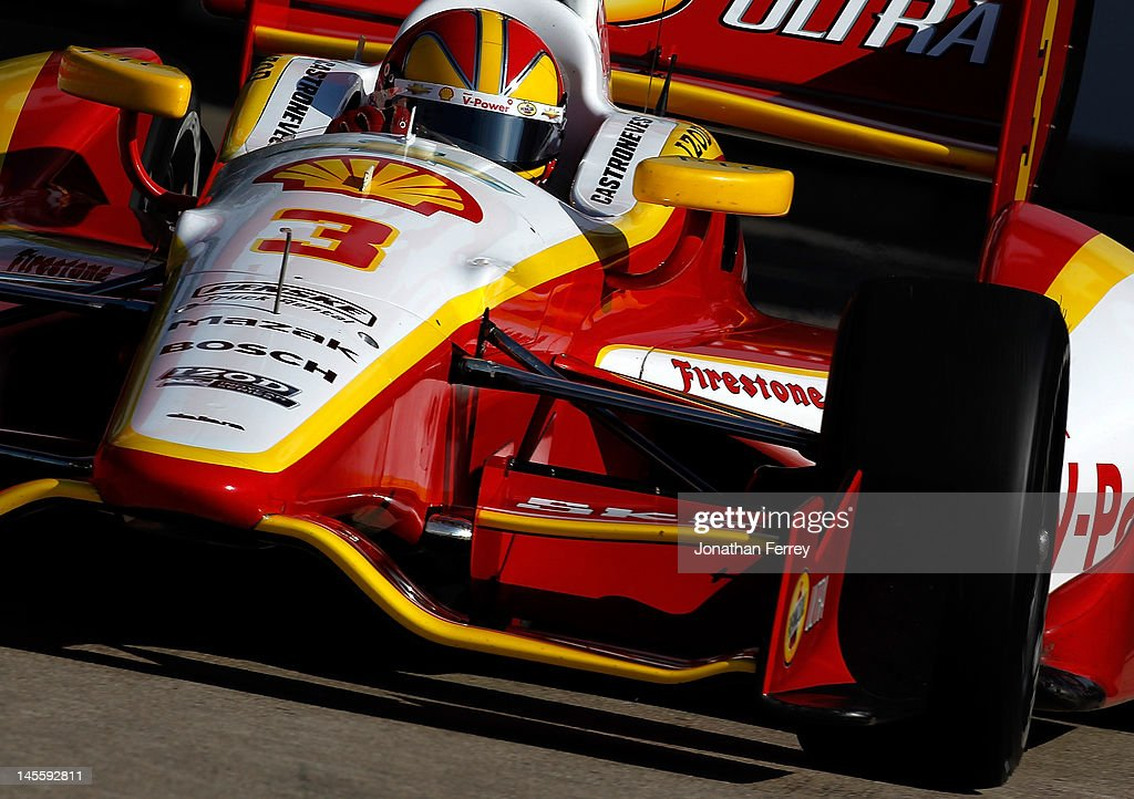 Helio Castroneves of Brazil drives his #3 drives Shell Team Penske Chevy Dallara DW12 during practice for the IZOD INDYCAR Series Chevrolet Detroit Belle Isle Grand Prix on Belle Isle on June 2, 2012 in Detroit, Michigan.