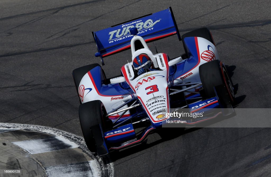 Helio Castroneves of Brazil, drives the #3 AAA Insurance Team Penske during qualifying for the Honda Indy Grand Prix of Alabama at Barber Motorsports Park on April 6, 2013 in Birmingham, Alabama.