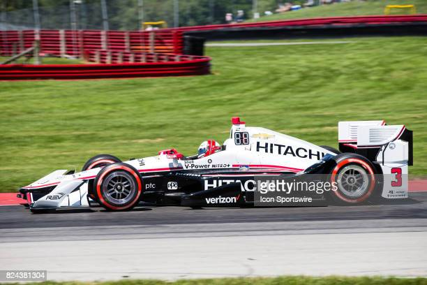 Helio Castroneves of Brazil drives the Chevrolet IndyCar for Team Penske during qualifying for the Verizon IndyCar Series Honda Indy 200 at MidOhio...