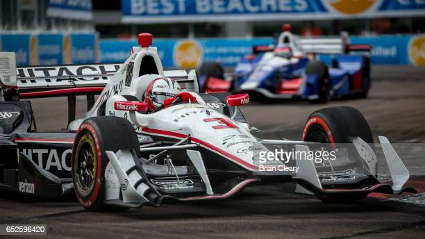 Helio Castroneves of Brazil drives the Chevrolet IndyCar on the track during the Firestone Grand Prix of St Petersburg IndyCar race on March 12 2017...