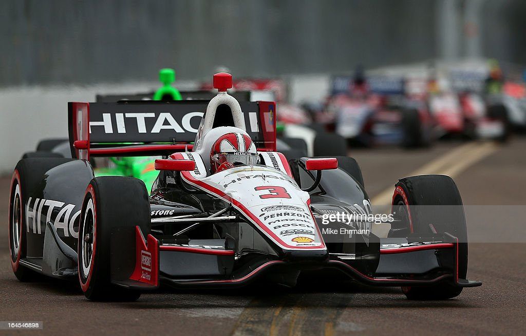 Helio Castroneves of Brazil, drives the Hitachi Team Penske Dallara Chevrolet during the Honda Grand Prix of St. Petersburg on March 24, 2013 in St Petersburg, Florida.