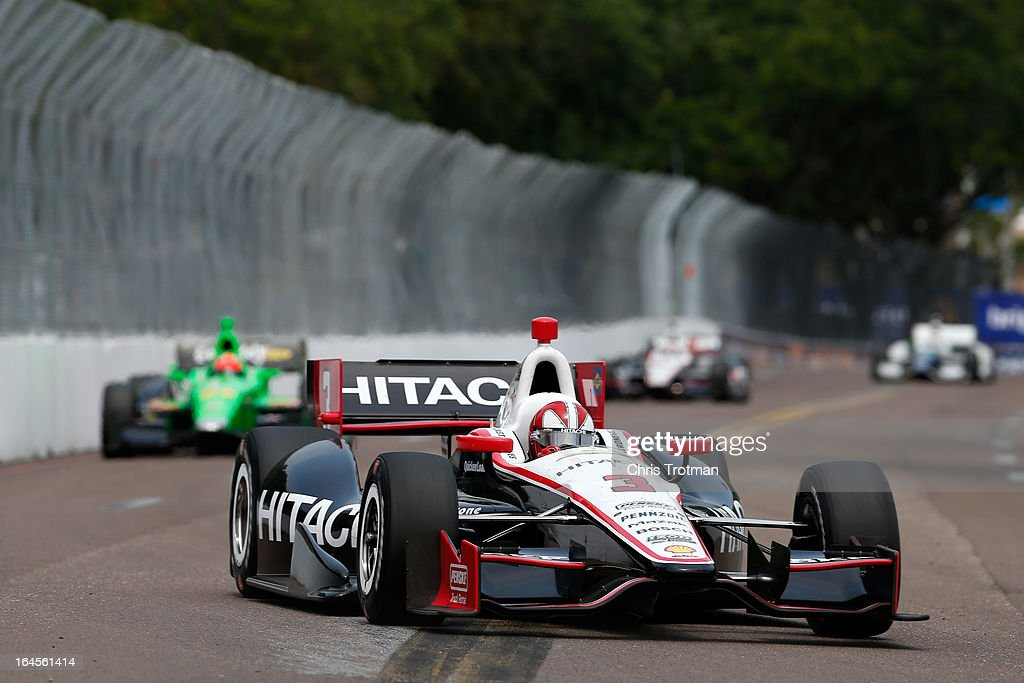 Helio Castroneves of Brazil, drives the Hitachi Team Penske Dallara Chevrole during the IZOD IndyCar Series Honda Grand Prix of St Petersburg on March 24, 2013 in St Petersburg, Florida.