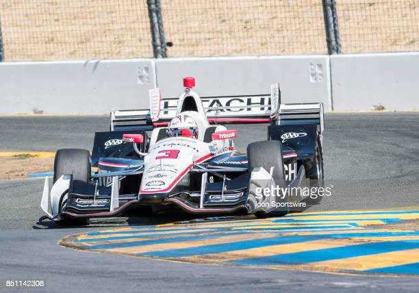 Helio Castroneves of Brazil Team Penske during the IndyCar Series Warm Up at the Verizon Indycar Series GoPro Grand Prix of Sonoma held on Sunday...