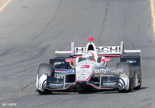 Helio Castroneves of BrazilTeam Penske slows for turn 9 during the IndyCar Series Warm Up at the Verizon Indycar Series GoPro Grand Prix of Sonoma...