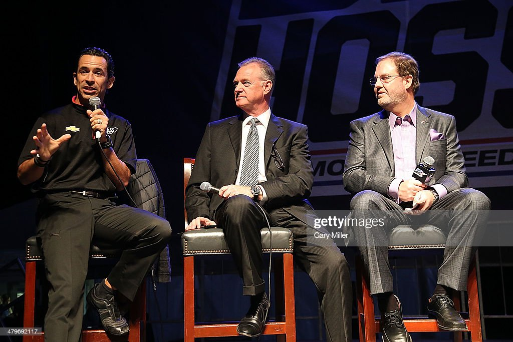 Helio Castroneves, Richard Ballard and Eddie Gossage speak during the unveiling of 'Big Hoss' the largest HD video board in the world at Texas Motor Speedway on March 19, 2014 in Fort Worth, Texas.