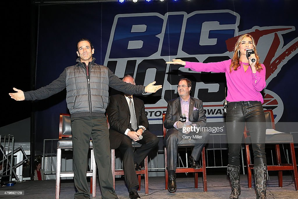 Helio Castroneves, Richard Ballard, Eddie Gossage and Paige Duke speak during the unveiling of 'Big Hoss' the largest HD video board in the world at Texas Motor Speedway on March 19, 2014 in Fort Worth, Texas.