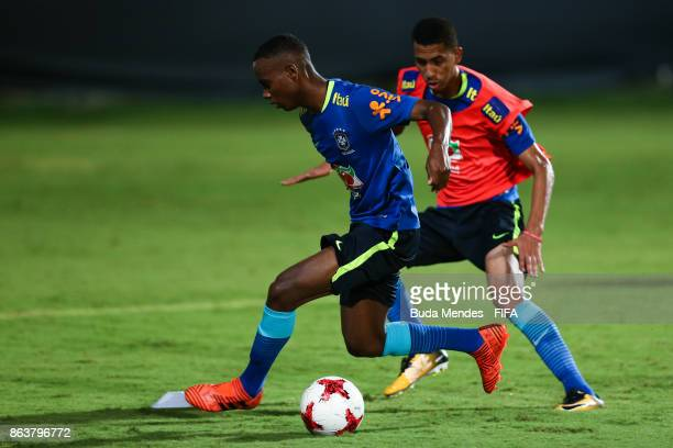 Helio Junio and Weverson of Brazil in action during the training session ahead of the FIFA U17 World Cup India 2017 tournament at Kolkata 2 Training...