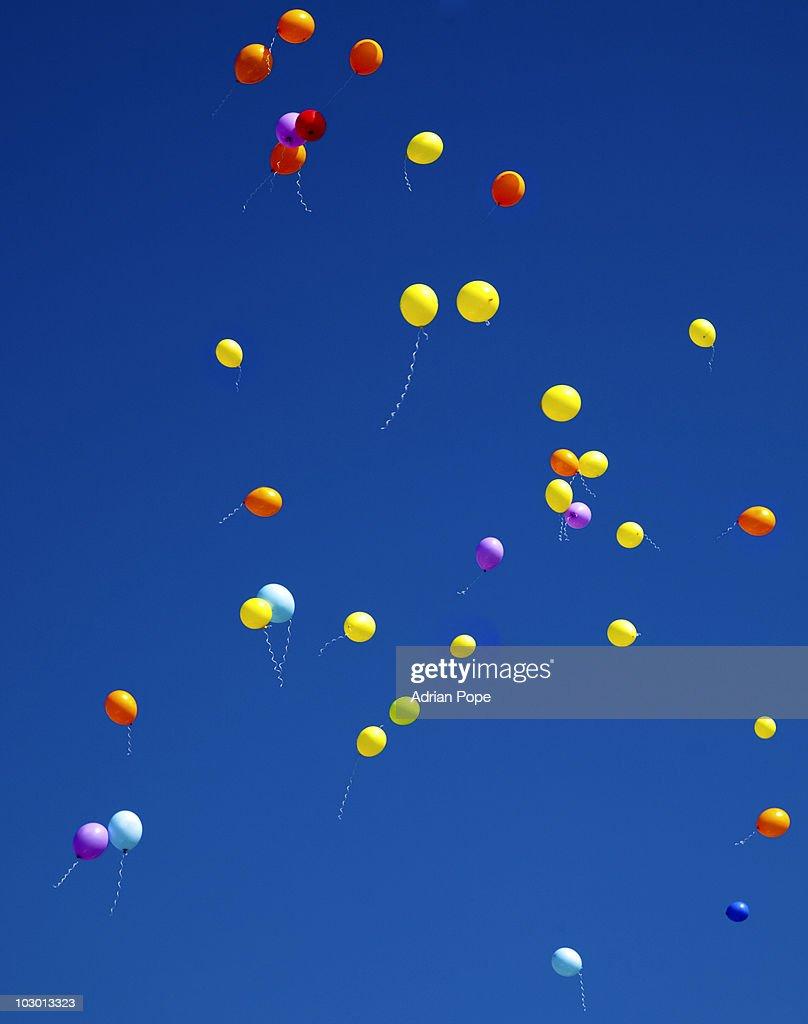 Helium Balloons against blue sky : Stock Photo
