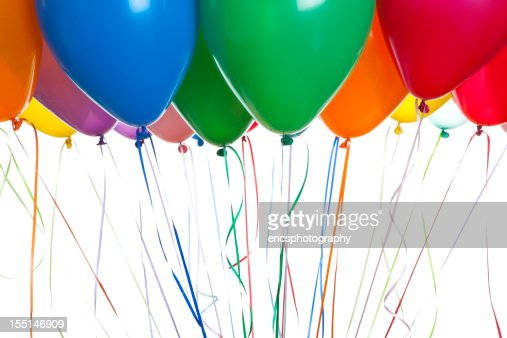 Helium balloons on white