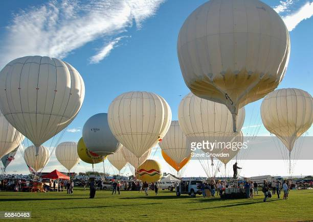 Helium gas balloons dot the departure field as their crews prepare to compete in the Gordon Bennett Gas Balloon Race on October 1 2005 in Albuquerque...