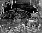 Satan/Lucifer in the 9th circle of hell Illustr to Divina Comedia of Dante Alighieri engraving 19th cent