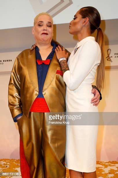 Hella von Sinnen and Sophia Thomalla attend the Felix Burda Award at Hotel Adlon on May 14 2017 in Berlin Germany