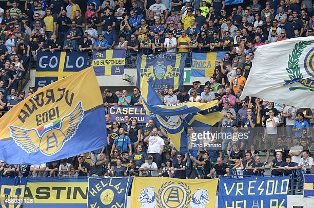 Hellas Verona fans show their support during the Serie A match between Hellas Verona FC and Torino FC at Stadio Marc'Antonio Bentegodi on September...