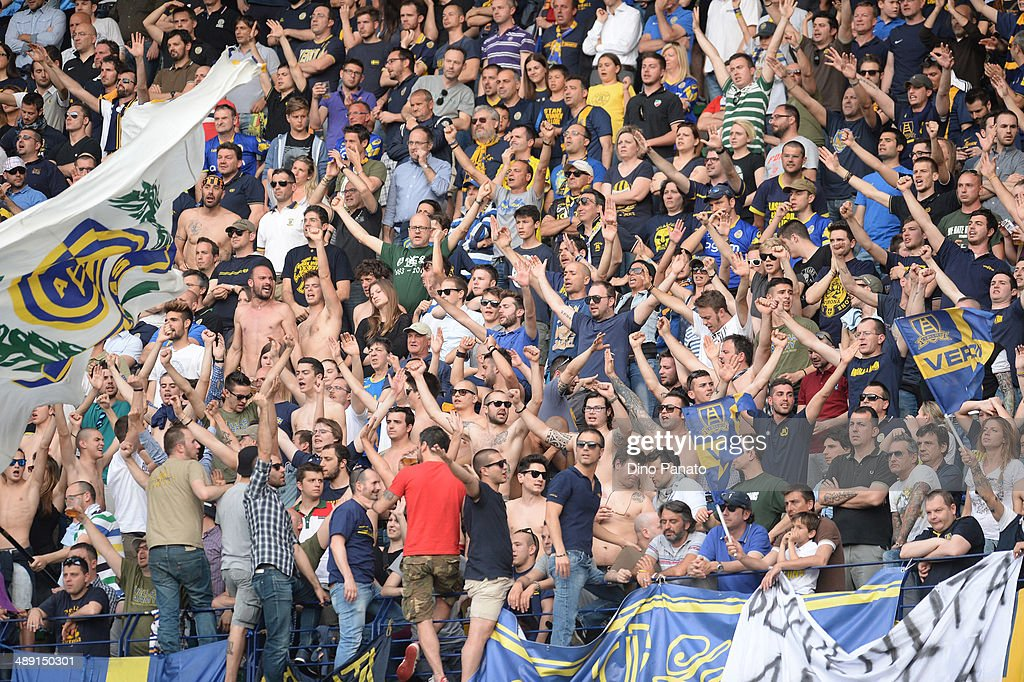Hellas Verona fans show their support during the Serie A match between Hellas Verona FC and Udinese Calcio at Stadio Marc'Antonio Bentegodi on May 10, 2014 in Verona, Italy.