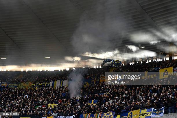 Hellas Verona fans shows their support during the Serie A match betweeen Hellas Verona FC and AC Chievo Verona at Stadio Marc'Antonio Bentegodi on...