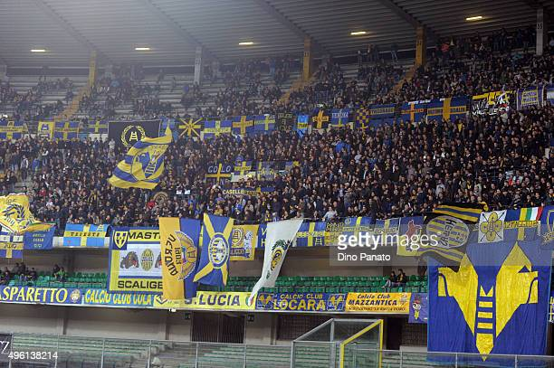 Hellas Verona fans shows their support during the Serie A match between Hellas Verona FC and Bologna FC at Stadio Marc'Antonio Bentegodi on November...