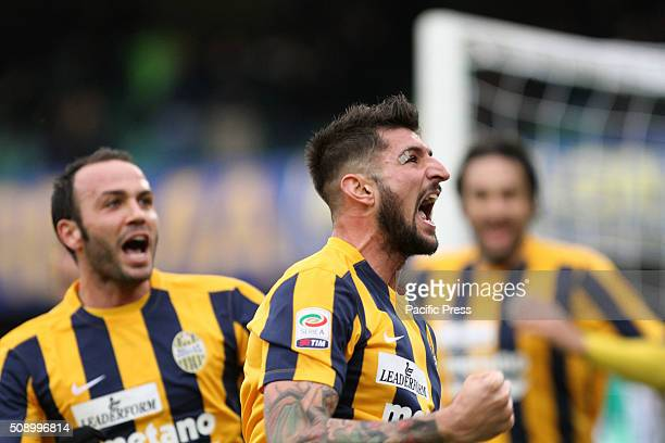 Hellas Verona's defender Eros Pisano celebrates after scoring a goal 21 during the Italian Serie A football match between Hellas Verona FC v FC Inter...
