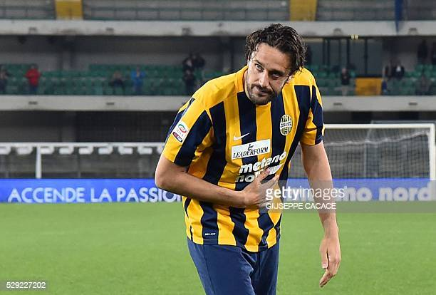 Hellas Verona's forward from Italy Luca Toni acknowledges the fans after having played his last match the Italian Serie A football match Hellas...
